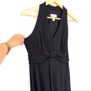 LOFT black midi dress with halter top